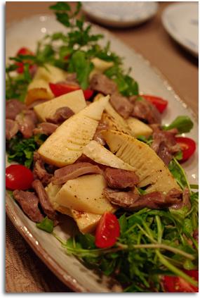 砂肝と筍のサラダ