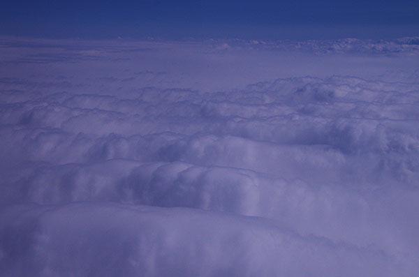 長野市上空の雪雲