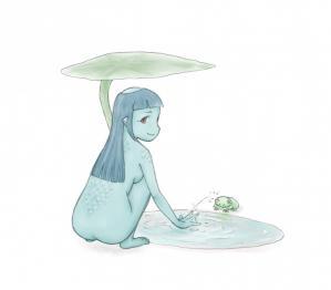 河童娘と蛙