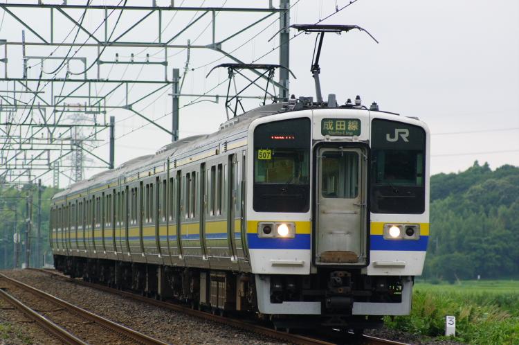 2012年7月20日 総武本線、緩行線 1447M マリ507 物井-佐倉