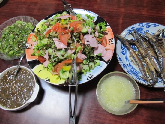 ハムサラダ、フキノトウの酢のもの、サンマ、カレー