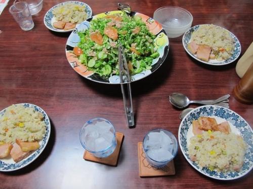 炊き込みピラフとサラダ