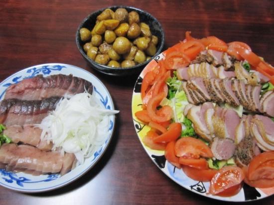 合鴨サラダ、刺身、新じゃが揚げ煮