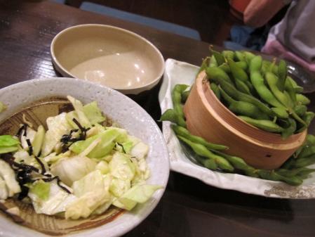 枝豆とやみつきキャベツ