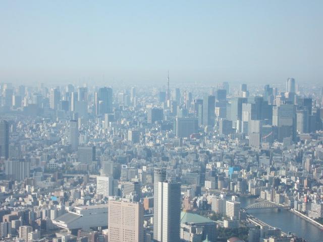 スカイツリーからの絶景 あれに見えるは東京タワー