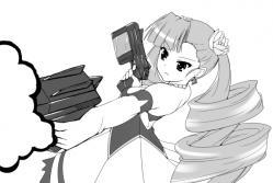 一日一絵・銃を撃つペトラ