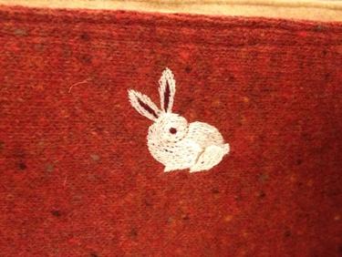うさぎさんの刺繍です。