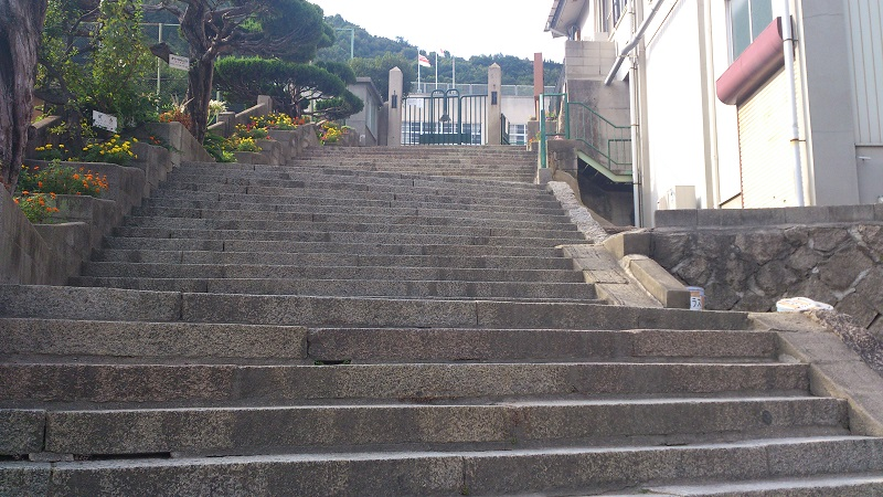 学校の階段近影
