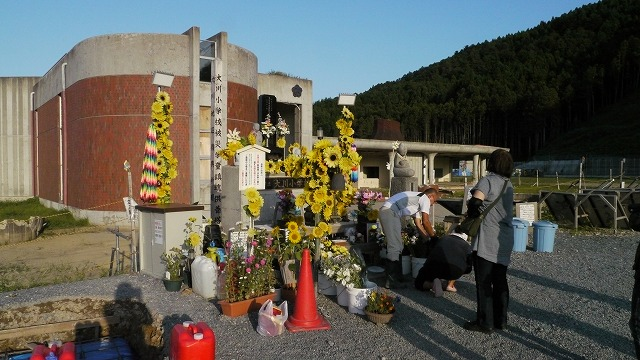 大川小学校慰霊碑です