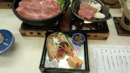 近江牛コースすき焼きと朴葉味噌