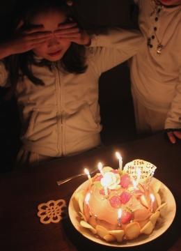 誕生日ケーキと柚ちゃん