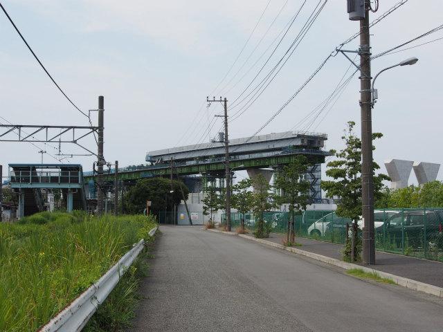 東海道新幹線との交差部。