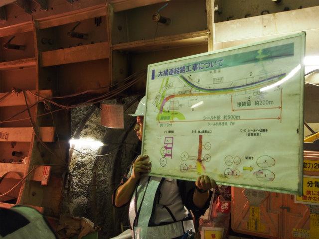 現場で色々説明。後ろの穴は、山手トンネルとの非常用連絡通路。
