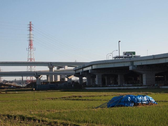 新湘南バイパス側から。左が圏央道へのランプ。