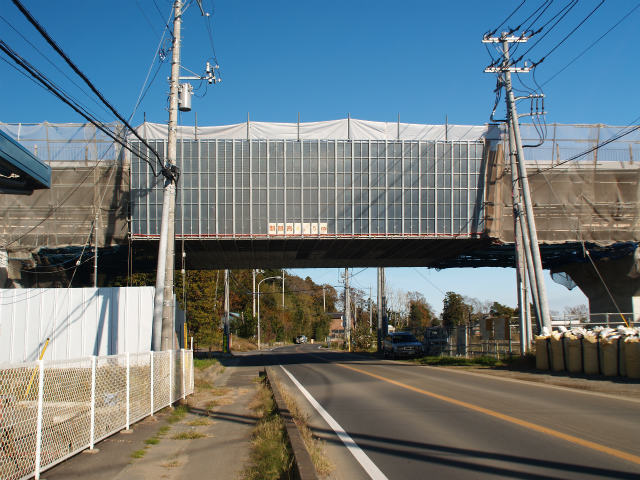 交差部。右側が東インター方面。