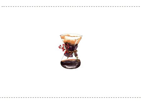 コーヒーイラスト+点線