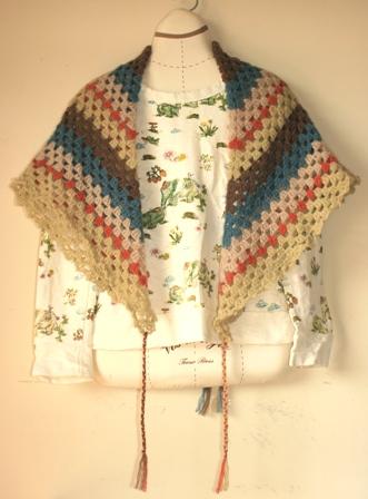 モヘア糸のスクエアストール(109) 1