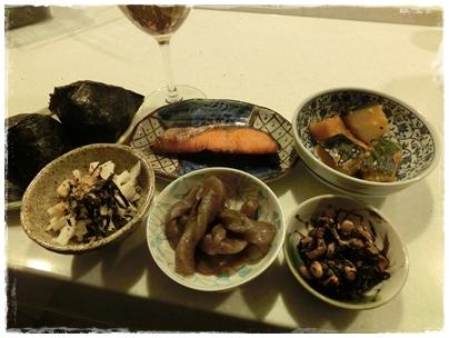 自然薯、鮭、こんにゃく、ヒジキ、かぼちゃ