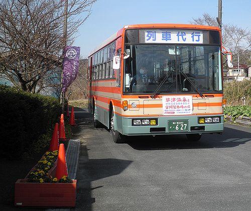 小湊鉄道・列車代行バス(上総中野駅前・2014年2月7日)
