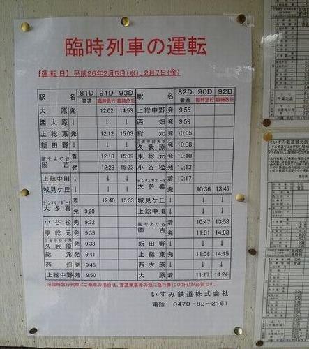 いすみ鉄道・臨時列車運転告知(2014年2月7日・小谷松駅)