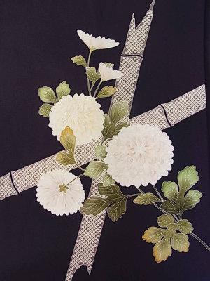 濃紺の塩瀬染め帯。お太鼓部分です。花弁に縫いも入っています。