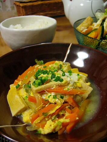 夜ごはん(高野豆腐の卵とじ)