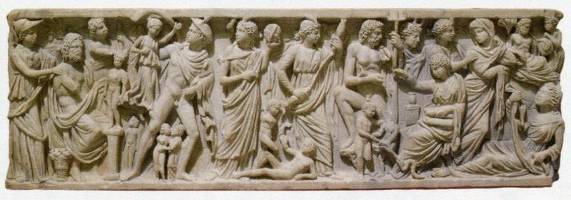 プロメテウスの伝説が刻まれた石棺