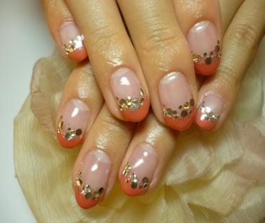 2012夏デザインオレンジフレンチラメ&ストーンキラキラネイル
