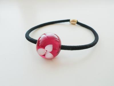 【オーダー】トンボ玉ヘアゴム(花)121001 (1)