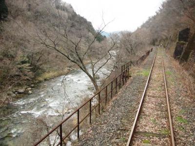 東城川渓谷沿いを走行