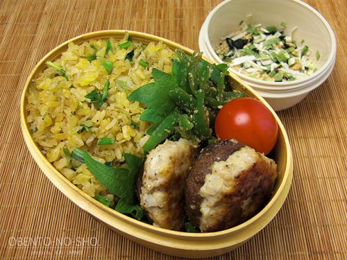 椎茸の肉詰めとじゃこ炒飯弁当01