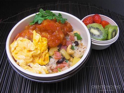 エビチリ&パイナップル炒飯弁当01