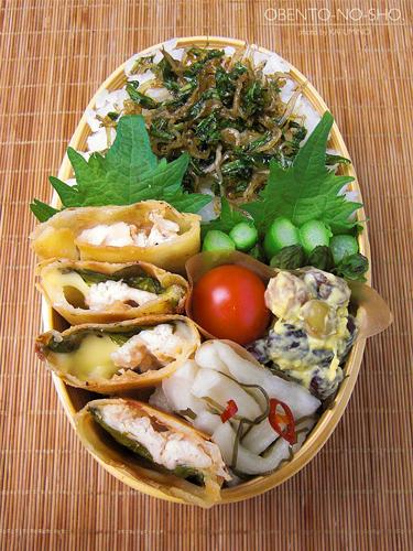 梅味噌の鶏チーズ春巻き弁当01