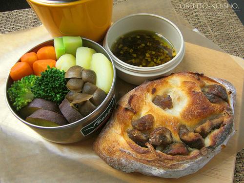 温野菜とクラムチャウダー弁当01