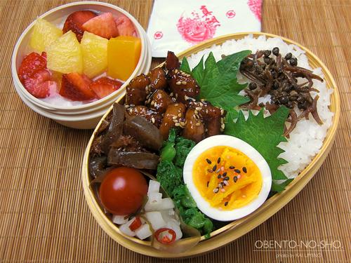 豚ヒレの黒酢胡麻揚げ弁当01