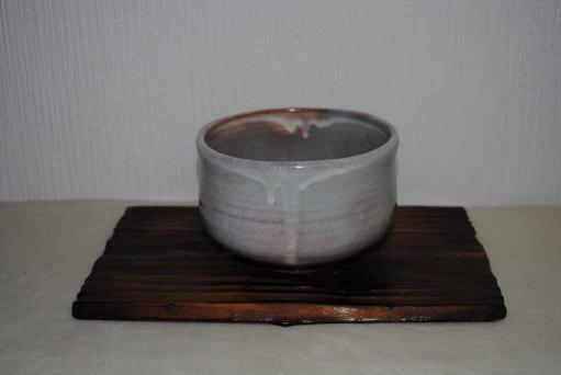 粉引筒型萩茶碗