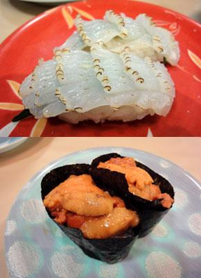 イカとウニのにぎり寿司