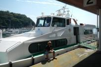 笠岡から船に乗り込み
