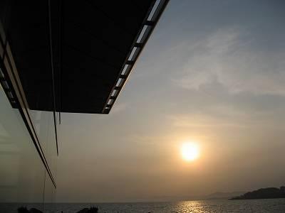 島根県立美術館と宍道湖の夕日