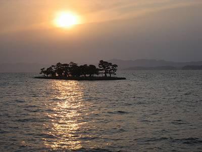 嫁ヶ島と宍道湖の夕日