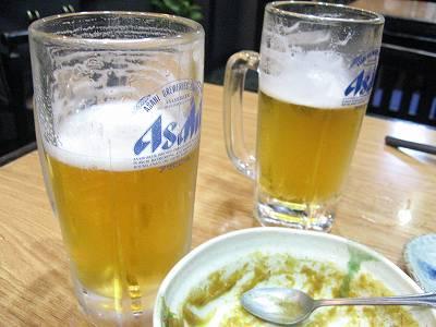 マスターと小生の生ビール
