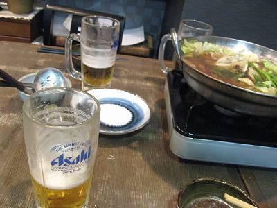生ビールともつ鍋
