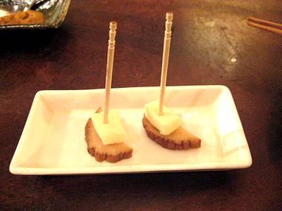 粕漬クリームチーズいぶりがっこ