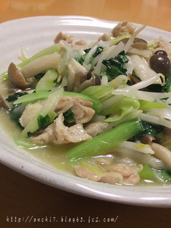 鶏さがりと野菜の炒め物