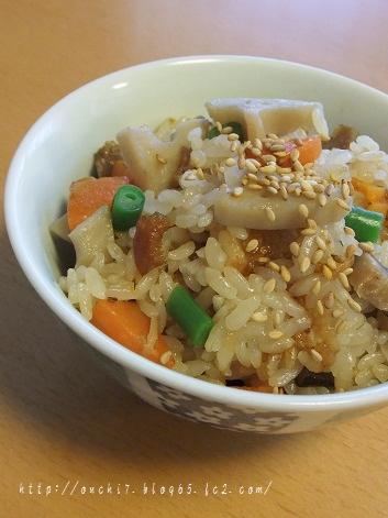 れんこんの中華風炊き込みご飯