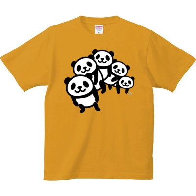 パンダ5人組み 6.2oz Tシャツ-胸面 (濃色)