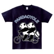 パンダ2人乗り自転車 特大プリント専用 5.6ozヘビーウェイトTシャツ