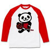 バスケット上手パンダ ラグラン長袖Tシャツ