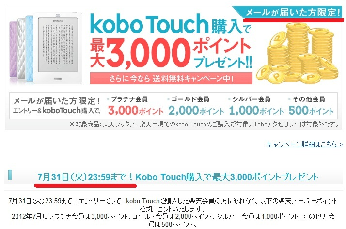 kobo Touchのポイントキャンペーン7月度