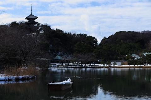 三重の塔を臨む池